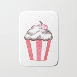 red cupcake (pointillism) Bath Mat
