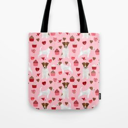 Jack Russell Terrier valentines day cupcakes and hearts love pattern gifts for dog lovers Tote Bag