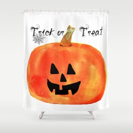 Trick or Treat Jack-O-Lantern, Halloween Pumpkin Shower Curtain