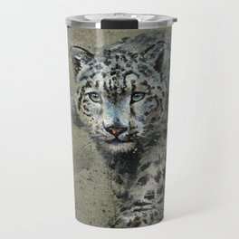 Snow leopard background Travel Mug