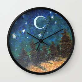 Night Sky over Forest Wall Clock