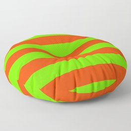 Bright Neon Green and Orange Horizontal Cabana Tent Stripes Floor Pillow