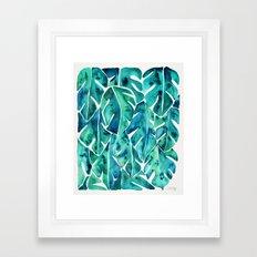 Split Leaf Philodendron – Teal Framed Art Print