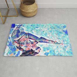3047-JPC Abstract Nude in Blue Green Yoga Stretch Feminine Power Rug