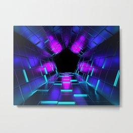 Purple Lights Rendering Tunnel Metal Print