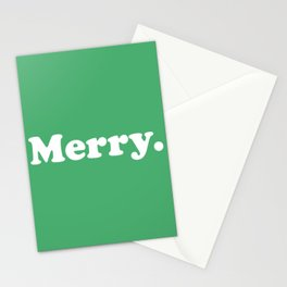 Merry. in Green Stationery Cards