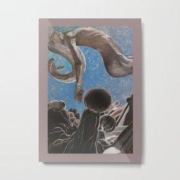 Floating Nude in Gray Metal Print
