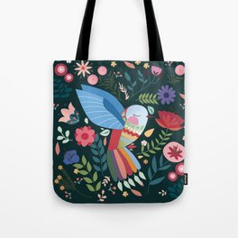 Folk Art Inspired Hummingbird With A Flurry Of Flowers Tote Bag