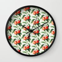 peach Wall Clocks featuring Peach by Grace