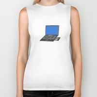 notebook Biker Tanks featuring LAPTOP NOTEBOOK NETBOOK by Sofia Youshi