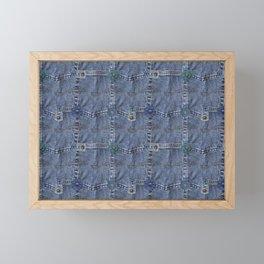 Blue Jeans Denim Pocket Patchwork Framed Mini Art Print