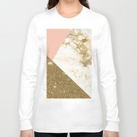 marble Long Sleeve T-shirts featuring Gold marble collage by cafelab