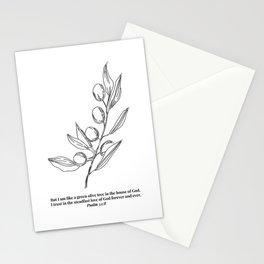 Psalm 52:8 Olive Branch Line Art Sketch Stationery Cards