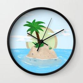 Desert Island with Palm Tree Wall Clock