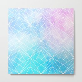 Geometric White Pattern on Watercolor Background Metal Print