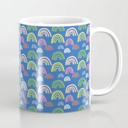 Happy Rainbow on Blue. Coffee Mug