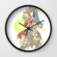 saga Wall Clocks featuring Digital Devil Saga by Ashley Reichgelt