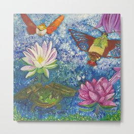 Hummingbird Moth and Frog Metal Print