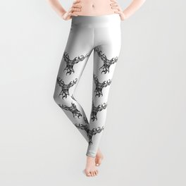 Henna Inspired Stag Head by Ashley-Rose Standish Leggings