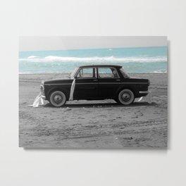 Weddings car on the beach 2 Metal Print