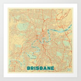 Brisbane Map Retro Art Print