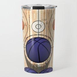 Colorful Purple basketballs on a Basketball Court Travel Mug
