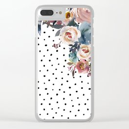 Boho Flowers and Polka Dots Clear iPhone Case
