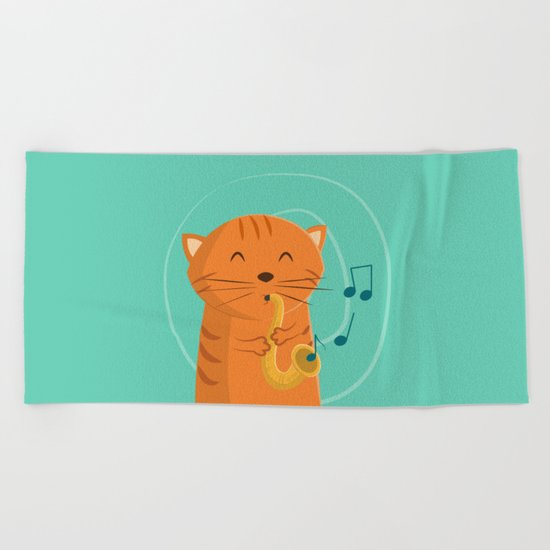 Jazz Cat Beach Towel