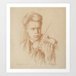 PEKKA HALONEN, THE VIOLINIST. Art Print