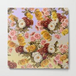 Chrysanthemum Floral Pattern on Lavender Purple Metal Print
