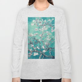Vincent Van Gogh Almond Blossoms Turquoise Long Sleeve T-shirt