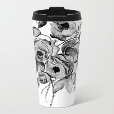 GREYSCALE ROSES Metal Travel Mug