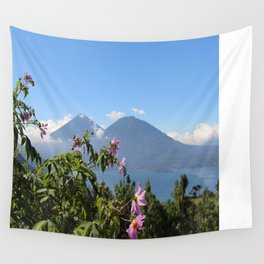 Lago Atitlan and flowers Wall Tapestry