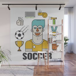 Soccer (football) player with sports elements Wall Mural