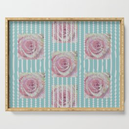 Pink Roses on Blue Serving Tray