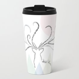 Abstrac Typographic Reindeer in The Mountains Travel Mug