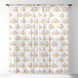 Pink and Yellow Boho Triangles Sheer Curtain
