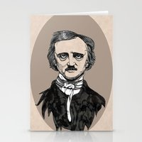 edgar allan poe Stationery Cards featuring edgar allan poe by Lily Livingston