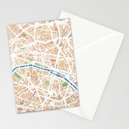 Watercolor map of Paris Stationery Cards
