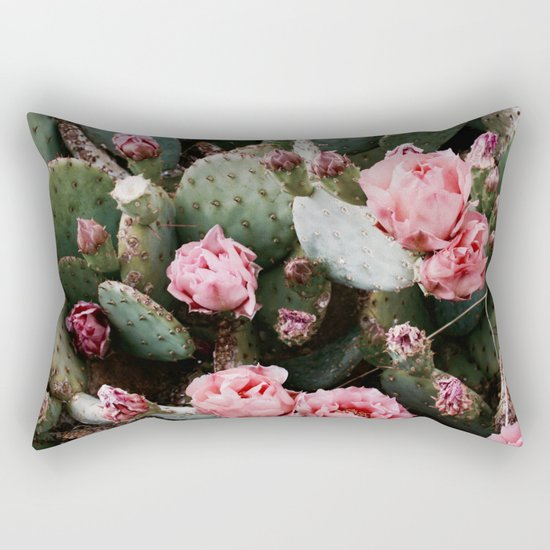 PINK CACTUS FLOWER ABSTRACT CLUSTER PATTERN Rectangular Pillow