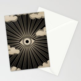 Radiant eye minimal sky with clouds - black and gold Stationery Cards