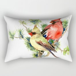 Cardinal Birds on Pine Tree Rectangular Pillow