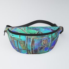 Neon Blue Houses Fanny Pack