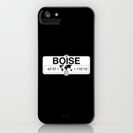 Boise Idaho GPS Coordinates Map Artwork with Compass iPhone Case