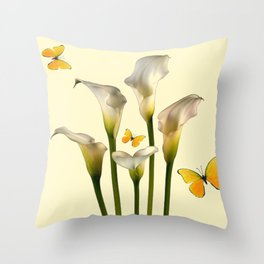 Ivory Calla Lilies Yellow Butterflies Throw Pillow