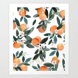 Dear Clementine - oranges on white Art Print