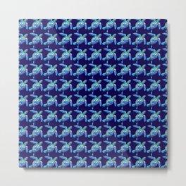Sea Turtle Pattern Blue Metal Print