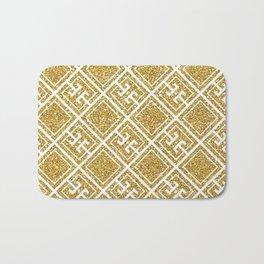 Gold Glitter Greek Pattern Bath Mat