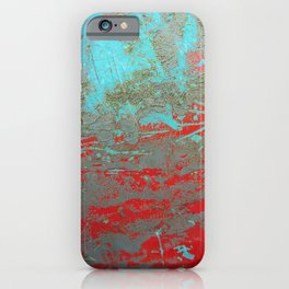 texture - aqua and red paint iPhone Case