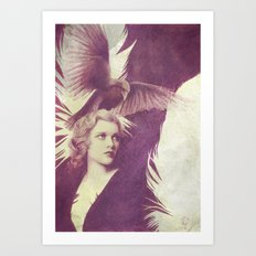 Purple vintage girl with raven Art Print